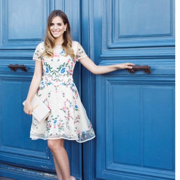 667630779bfe Garden Embroidered Beige Organza Dress